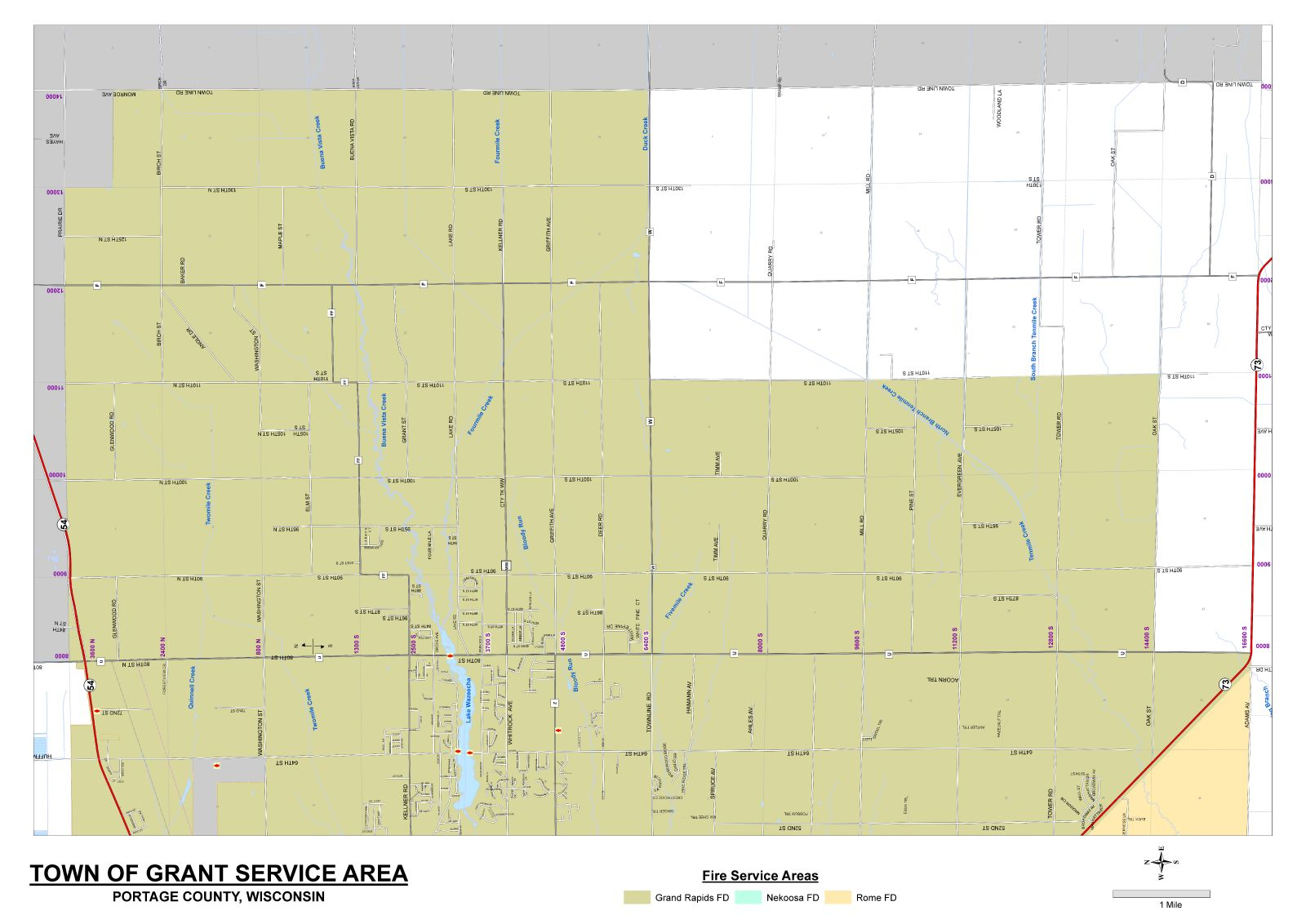 Grand Rapids Fire Departments coverage map for the Town of Grant, Portage County