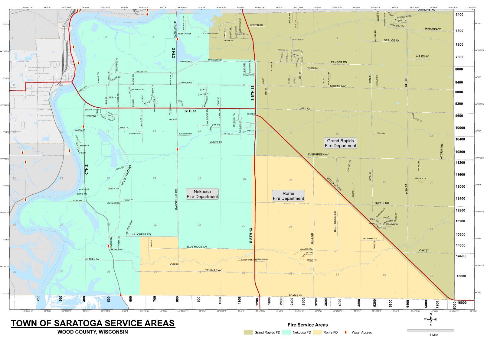 Grand Rapids Fire Departments coverage map for the Town of Saratoga, Wood County